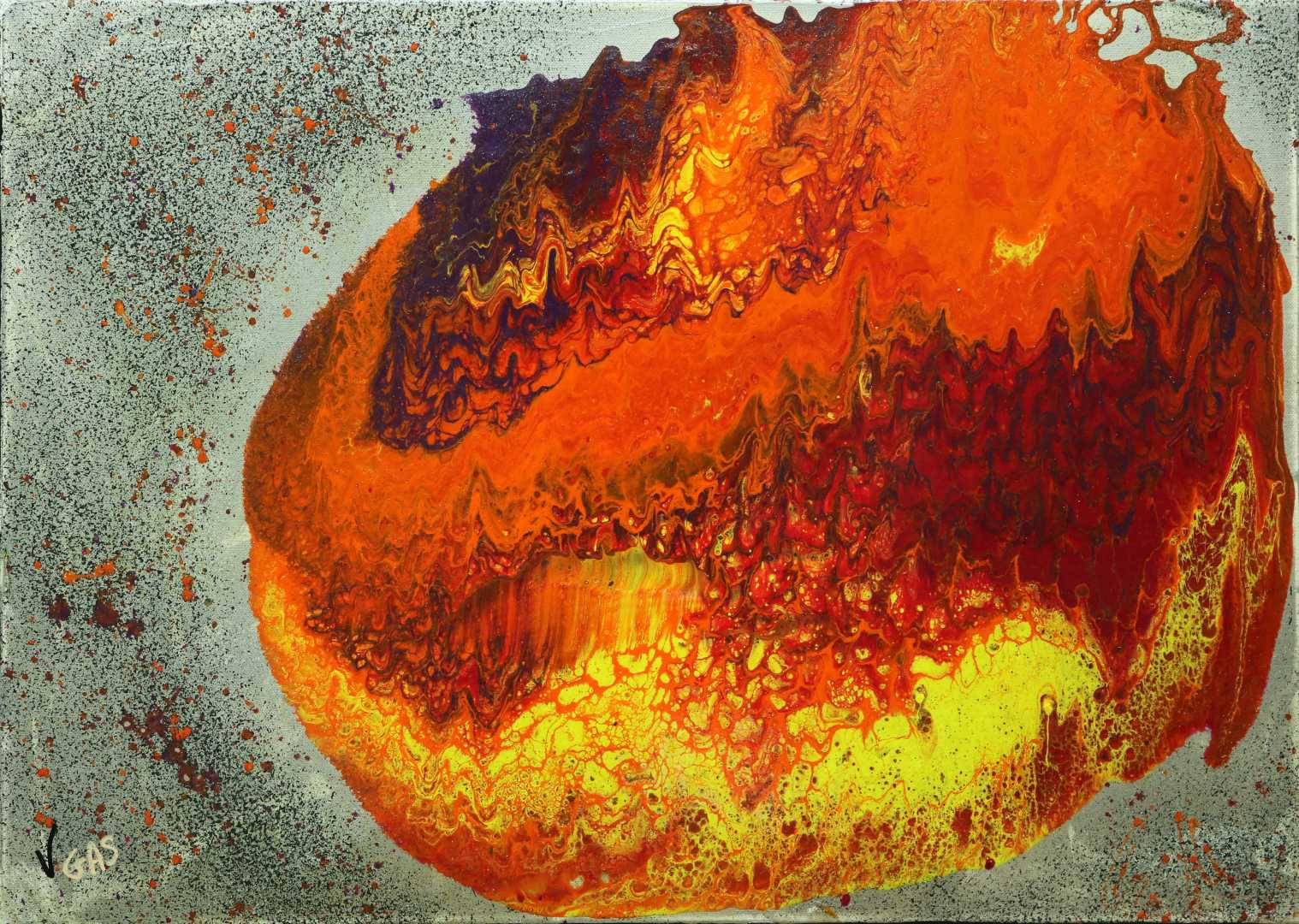 Magnificient Explosion Peinture, Acrylique, Art abstrait, Toile, Art abstrait, explosion, univers, coloré, planète, orange, jaune, violet