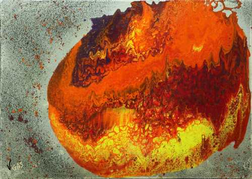Magnificient Explosion Vgas Peinture, Acrylique, Art abstrait, Toile, Art abstrait, explosion, univers, coloré, planète, orange, jaune, violet